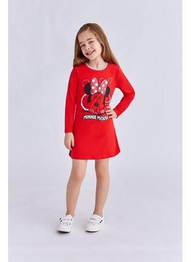 Mickey Mouse Mickey & Minnie Mouse Lisanslı Kız Çocuk Gecelik Açık Kırmızı Kırmızı